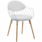 Modway Basket Dining Metal Wire and Faux Leather Armchair in White White MY-EEI-1465-WHI-WHI