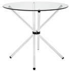 Modway Baton Round Tempered Glass and Steel Dining Table in Clear MY-EEI-1074-CLR