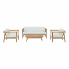 Modway Bayport 4 Piece Outdoor Patio Teak Set in Natural White MY-EEI-3111-NAT-WHI-SET