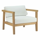 Modway Bayport Outdoor Patio Teak Wood Armchair in Natural White MY-EEI-2695-NAT-WHI