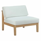 Modway Bayport Outdoor Patio Teak Wood Armless in Natural White MY-EEI-2697-NAT-WHI