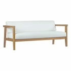 Modway Bayport Outdoor Patio Teak Wood Loveseat in Natural White MY-EEI-2696-NAT-WHI