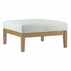 Modway Bayport Outdoor Patio Teak Wood Ottoman in Natural White MY-EEI-2698-NAT-WHI