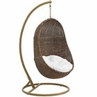 Modway Bean Outdoor Patio Wicker Rattan Swing Chair With Stand in Coffee White MY-EEI-2277-YLW-WHI-SET