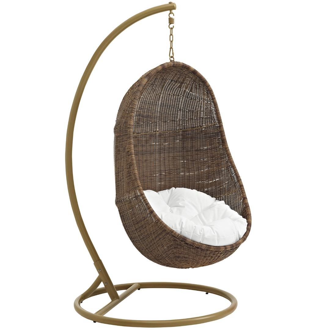 Modway Bean Outdoor Patio Wicker Rattan Swing Chair With ...