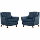 Modway Beguile 2 Piece Upholstered Fabric Living Room Set in Azure MY-EEI-2185-AZU-SET