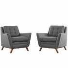 Modway Beguile 2 Piece Upholstered Fabric Living Room Set in Gray MY-EEI-2185-DOR-SET