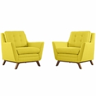 Modway Beguile 2 Piece Upholstered Fabric Living Room Set in Sunny MY-EEI-2185-SUN-SET