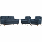 Modway Beguile 3 Piece Upholstered Fabric Living Room Set in Azure MY-EEI-2141-AZU-SET
