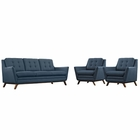 Modway Beguile 3 Piece Upholstered Fabric Living Room Set in Azure MY-EEI-2184-AZU-SET