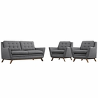 Modway Beguile 3 Piece Upholstered Fabric Living Room Set in Gray MY-EEI-2141-DOR-SET