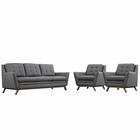 Modway Beguile 3 Piece Upholstered Fabric Living Room Set in Gray MY-EEI-2184-DOR-SET
