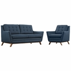 Modway Beguile Living Room Furniture Upholstered Fabric 2 Piece Set in Azure MY-EEI-2432-AZU-SET