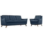 Modway Beguile Living Room Furniture Upholstered Fabric 2 Piece Set in Azure MY-EEI-2433-AZU-SET