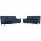 Modway Beguile Living Room Furniture Upholstered Fabric 2 Piece Set in Azure MY-EEI-2434-AZU-SET