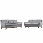 Modway Beguile Living Room Furniture Upholstered Fabric 2 Piece Set in Expectation Gray MY-EEI-2434-GRY-SET