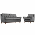 Modway Beguile Living Room Furniture Upholstered Fabric 2 Piece Set in Gray MY-EEI-2432-DOR-SET