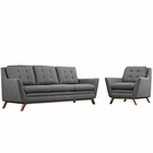 Modway Beguile Living Room Furniture Upholstered Fabric 2 Piece Set in Gray MY-EEI-2433-DOR-SET
