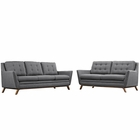 Modway Beguile Living Room Furniture Upholstered Fabric 2 Piece Set in Gray MY-EEI-2434-DOR-SET