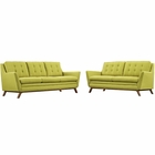 Modway Beguile Living Room Furniture Upholstered Fabric 2 Piece Set in Wheatgrass MY-EEI-2434-WHE-SET
