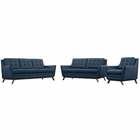 Modway Beguile Living Room Furniture Upholstered Fabric 3 Piece Set in Azure MY-EEI-2431-AZU-SET