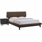 Modway Bethany 2 Piece Queen Upholstered Fabric Bedroom Set in Black Brown MY-MOD-5333-BLK-BRN-SET