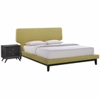 Modway Bethany 2 Piece Queen Upholstered Fabric Bedroom Set in Black Green MY-MOD-5333-BLK-GRN-SET