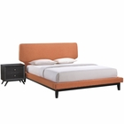 Modway Bethany 2 Piece Queen Upholstered Fabric Bedroom Set in Black Orange MY-MOD-5333-BLK-ORA-SET