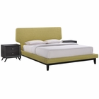 Modway Bethany 3 Piece Queen Upholstered Fabric Bedroom Set in Black  Green MY-MOD-5334-BLK-GRN-SET