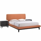 Modway Bethany 3 Piece Queen Upholstered Fabric Bedroom Set in Black Orange MY-MOD-5334-BLK-ORA-SET