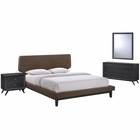 Modway Bethany 4 Piece Queen Upholstered Fabric Bedroom Set in Black Brown MY-MOD-5336-BLK-BRN-SET