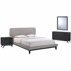 Modway Bethany 4 Piece Queen Upholstered Fabric Bedroom Set in Black Gray MY-MOD-5336-BLK-GRY-SET