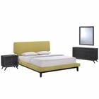 Modway Bethany 4 Piece Queen Upholstered Fabric Bedroom Set in Black Green MY-MOD-5336-BLK-GRN-SET