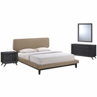 Modway Bethany 4 Piece Queen Upholstered Fabric Bedroom Set in Black Latte MY-MOD-5336-BLK-LAT-SET
