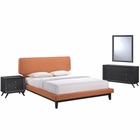 Modway Bethany 4 Piece Queen Upholstered Fabric Bedroom Set in Black Orange MY-MOD-5336-BLK-ORA-SET