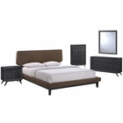 Modway Bethany 5 Piece Queen Upholstered Fabric Bedroom Set in Black Brown MY-MOD-5335-BLK-BRN-SET