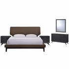 Modway Bethany 5 Piece Queen Upholstered Fabric Bedroom Set in Black Brown MY-MOD-5337-BLK-BRN-SET