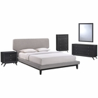 Modway Bethany 5 Piece Queen Upholstered Fabric Bedroom Set in Black Gray MY-MOD-5335-BLK-GRY-SET