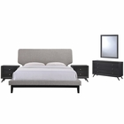 Modway Bethany 5 Piece Queen Upholstered Fabric Bedroom Set in Black Gray MY-MOD-5337-BLK-GRY-SET