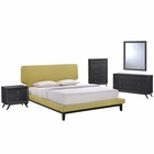 Modway Bethany 5 Piece Queen Upholstered Fabric Bedroom Set in Black Green MY-MOD-5335-BLK-GRN-SET