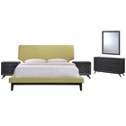 Modway Bethany 5 Piece Queen Upholstered Fabric Bedroom Set in Black Green MY-MOD-5337-BLK-GRN-SET