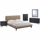 Modway Bethany 5 Piece Queen Upholstered Fabric Bedroom Set in Black Latte MY-MOD-5335-BLK-LAT-SET