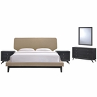 Modway Bethany 5 Piece Queen Upholstered Fabric Bedroom Set in Black Latte MY-MOD-5337-BLK-LAT-SET