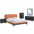 Modway Bethany 5 Piece Queen Upholstered Fabric Bedroom Set in Black Orange MY-MOD-5335-BLK-ORA-SET