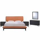 Modway Bethany 5 Piece Queen Upholstered Fabric Bedroom Set in Black Orange MY-MOD-5337-BLK-ORA-SET