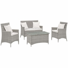 Modway Bridge 4 Piece Outdoor Patio Upholstered Fabric Patio Conversation Set with Pillows in Light Gray White MY-EEI-2763-LGR-WHI