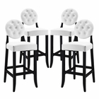 Modway Button Bar Stool Faux Leather Set of 4 in White MY-EEI-1686-WHI