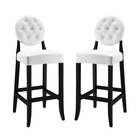 Modway Button Bar Stools Faux Leather Set of 2 in White MY-EEI-953-WHI