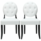 Modway Button Dining Chairs Faux Leather Set of 2 in White MY-EEI-912-WHI