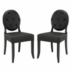 Modway Button Dining Side Chair Faux Leather Set of 2 in Black MY-EEI-1279-BLK